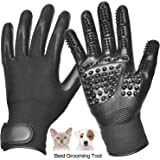 Pet Grooming Glove, Pet Hair Glove Remover Mitt Gentle De-shedding Brush Glove, Five Finger Comb Glove Pet Massage Mitt, Bathing Shedding Massage Tool for Long or Short Hair Dogs, Cats, Horses-1 Pair