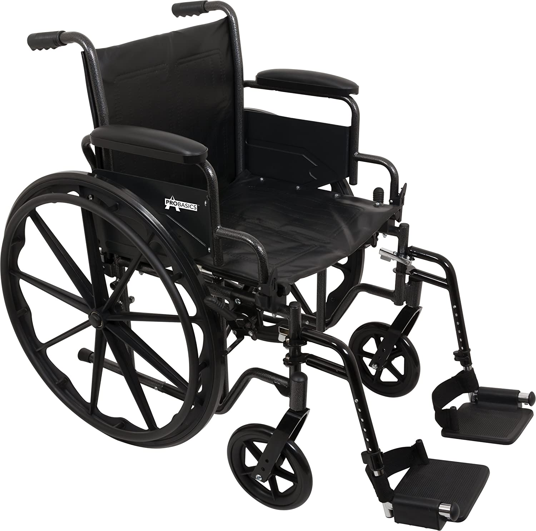 "B00DE6085O ProBasics Comfort Standard Wheelchair - Height Adjustable Seat - Flip Back Desk Arms - 300 Pound Weight Wapacity - Black - Swing-Away Footrest - 16"" x 16"" Seat 81UKsAiZnVL"