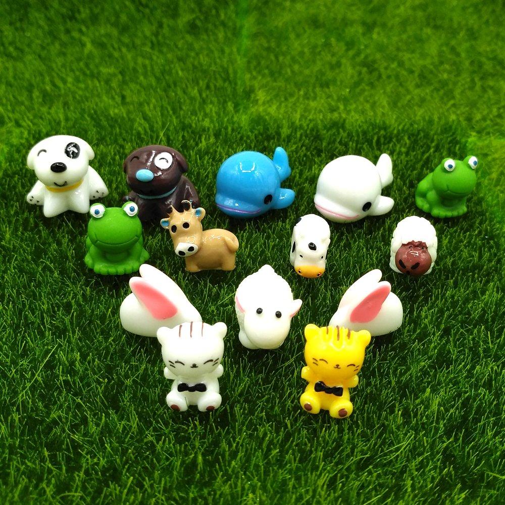 EMiEN 14 Pieces Mini Animals Miniature Ornament Kits Set for DIY Fairy Garden Dollhouse Decoration , Cats,Dogs,Frogs,Dolphins,Sheep,Cow,Rabbit Miniature Ornament for Fairy Garden Plant Décor