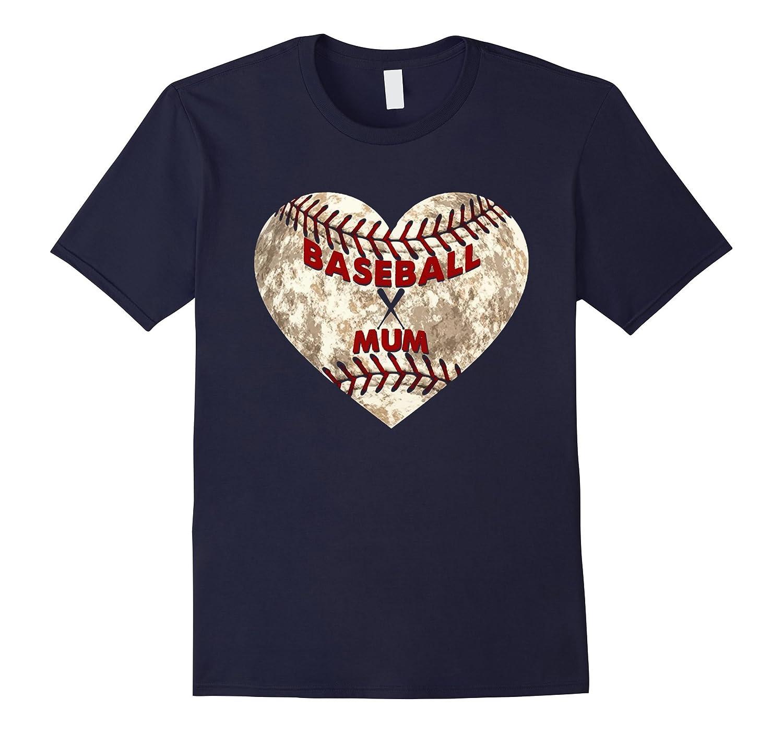 Baseball Mum Distressed Heart T-Shirt Cute Mom Love Tee-CD
