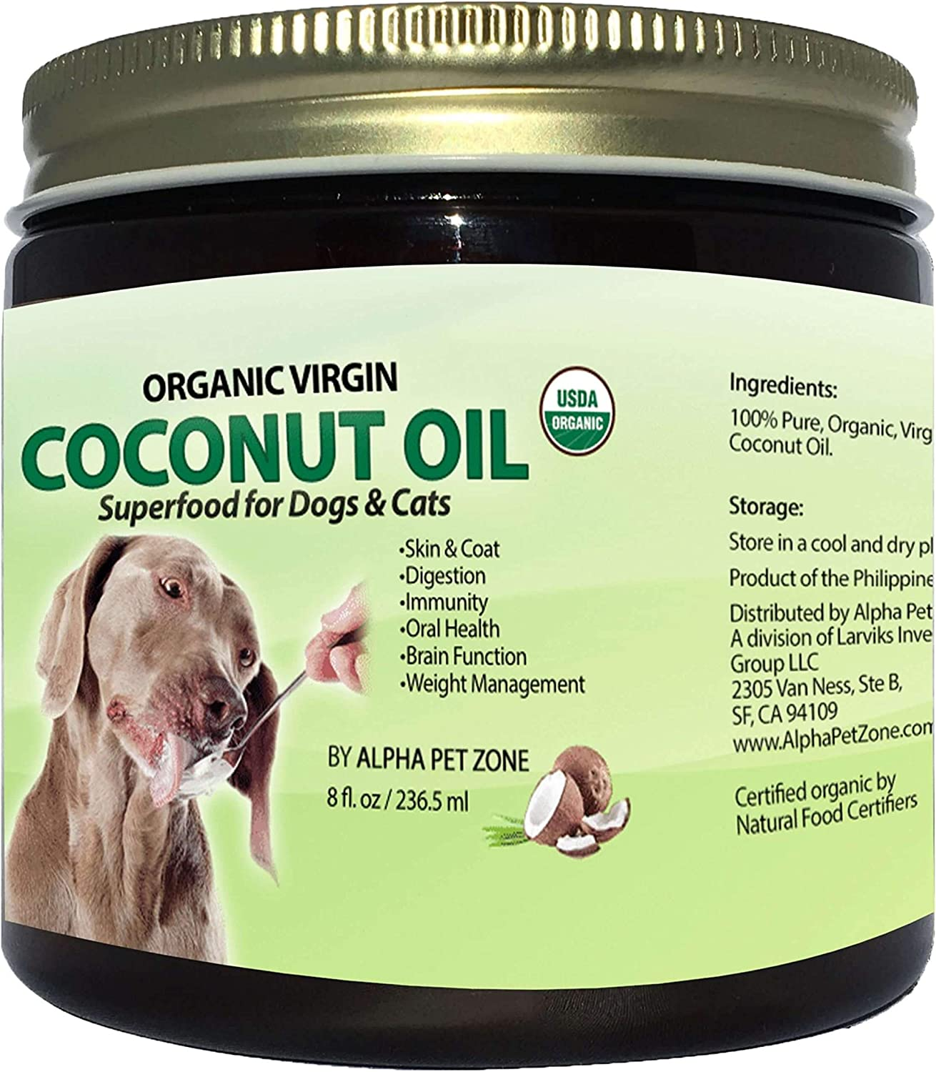 ALPHA PET ZONE Organic Virgin Coconut Oil for Dogs to Eat, Skin and Coat Superfood, Natural Digestive & Immune Support, 8 oz