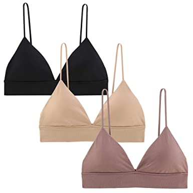 e82fbe1dbe1 INIBUD Bralette for Women Bra Seamless V Neck Triangle Removable Padded  Wire Free Pull On Bralettes Bustier Lingerie at Amazon Women s Clothing  store