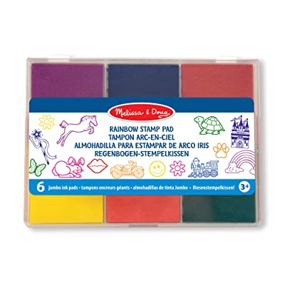 Melissa & Doug Rainbow Stamp Pad - 6 Washable Inks: Toys & Games