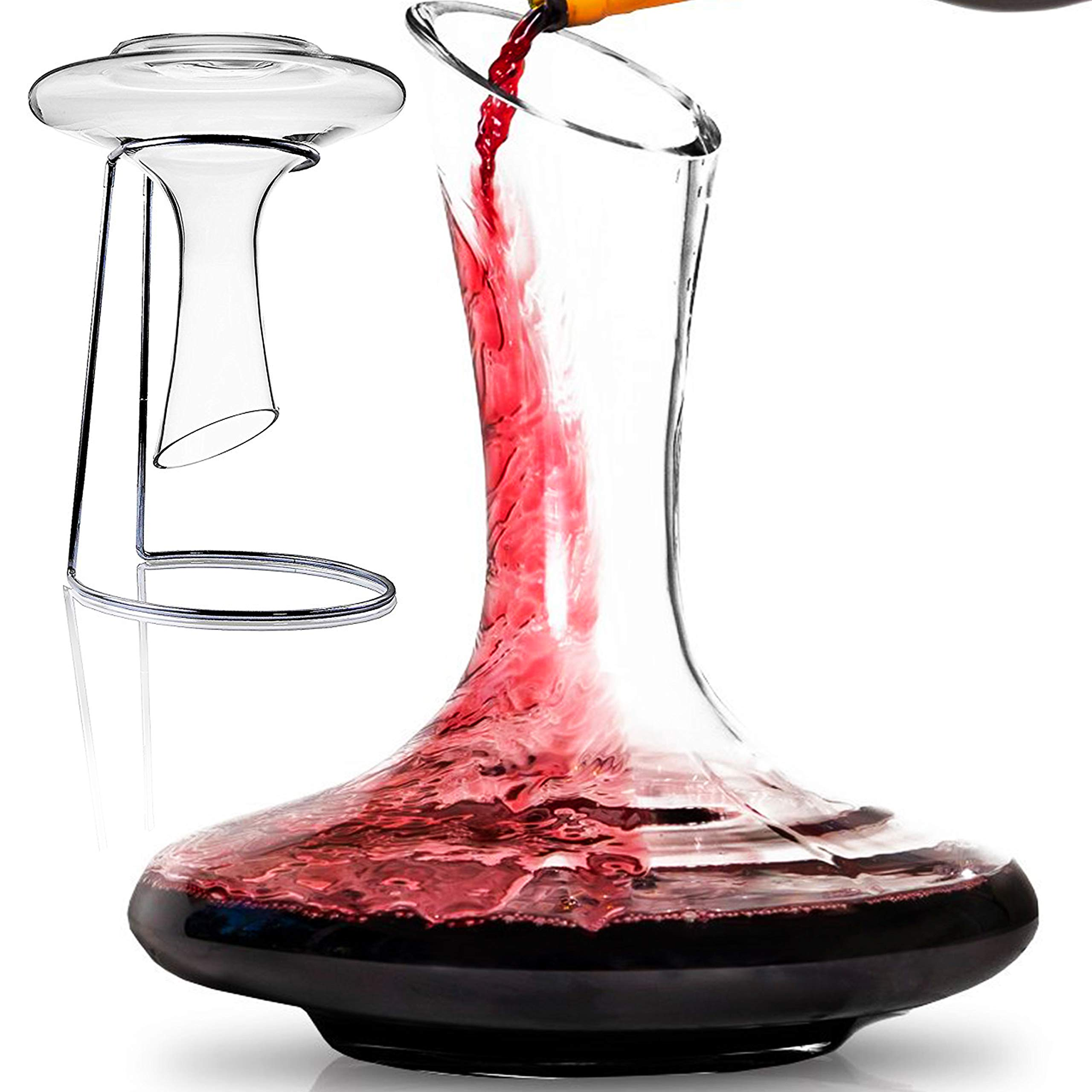 BTäT- Decanter with Stand, 60 oz Wine Decanter, Wine Carafe, Hand Blown 100% Lead Free Crystal Glass, Wine Accessories, Crystal Decanter (Wine Decanter with Stand)