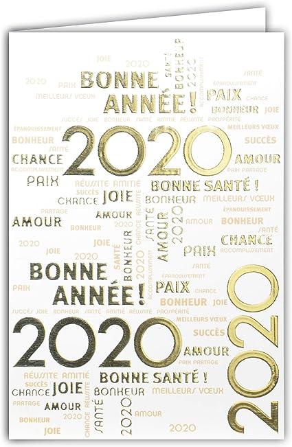 Carte Bonne Année 2020 Meilleurs Vœux Bonne Santé Souhaits
