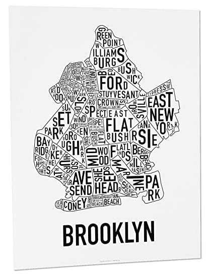 Brooklyn neighborhoods map art poster black
