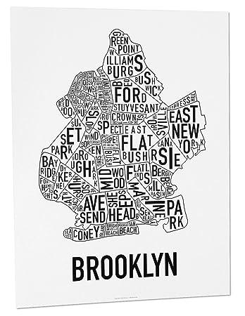 Amazoncom Brooklyn Neighborhoods Map Art Poster Black White 18