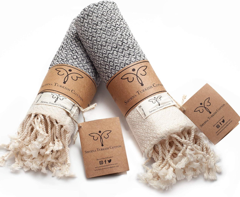 Smyrna Original Turkish Hand Towels Set of 2 | 100% Cotton, 16 x 40 Inches | Decorative Bathroom Peshtemal Towel for Hand, Face, Hair, Gym, Yoga, Tea, Dishcloth, Kitchen and Bath (Gray)