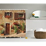 Beautiful Ambesonne Tuscan Decor Collection, Mediterranean Architecture Houses And  Flowers In Italian Hill Town Print,
