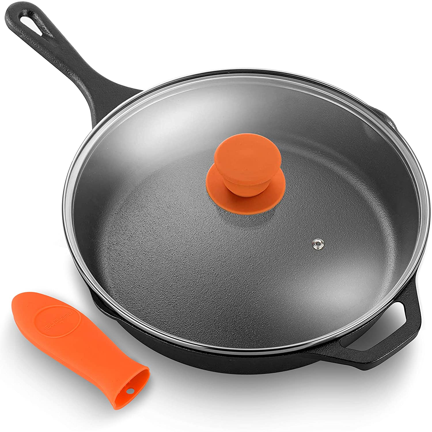 NutriChef PFOA-Free Oven Safe Kitchen Nonstick Cookware Frying Skillet w/Glass Lid 12