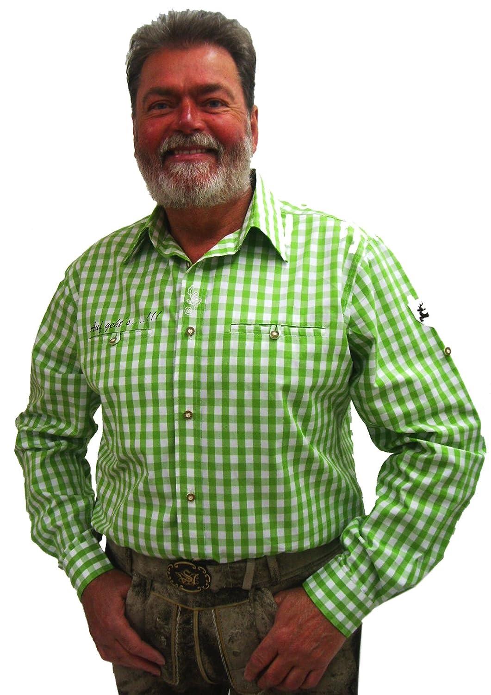 Herren Trachtenhemd grün weiß kariert Slim Fit Herrenhemd Langarm Edward