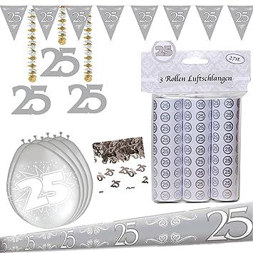 Dekoset Partyset Zur Silbernen Hochzeit Silberhochzeit 25 Jubilaum