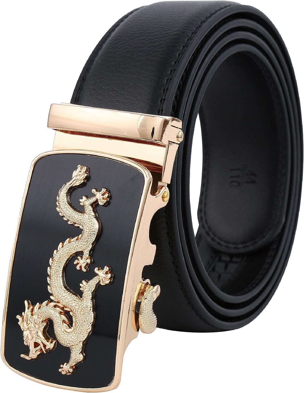 "New Men Belts Dragon Metal Automatic Buckle Black Fashion Leather Belt 48/""//120cm"