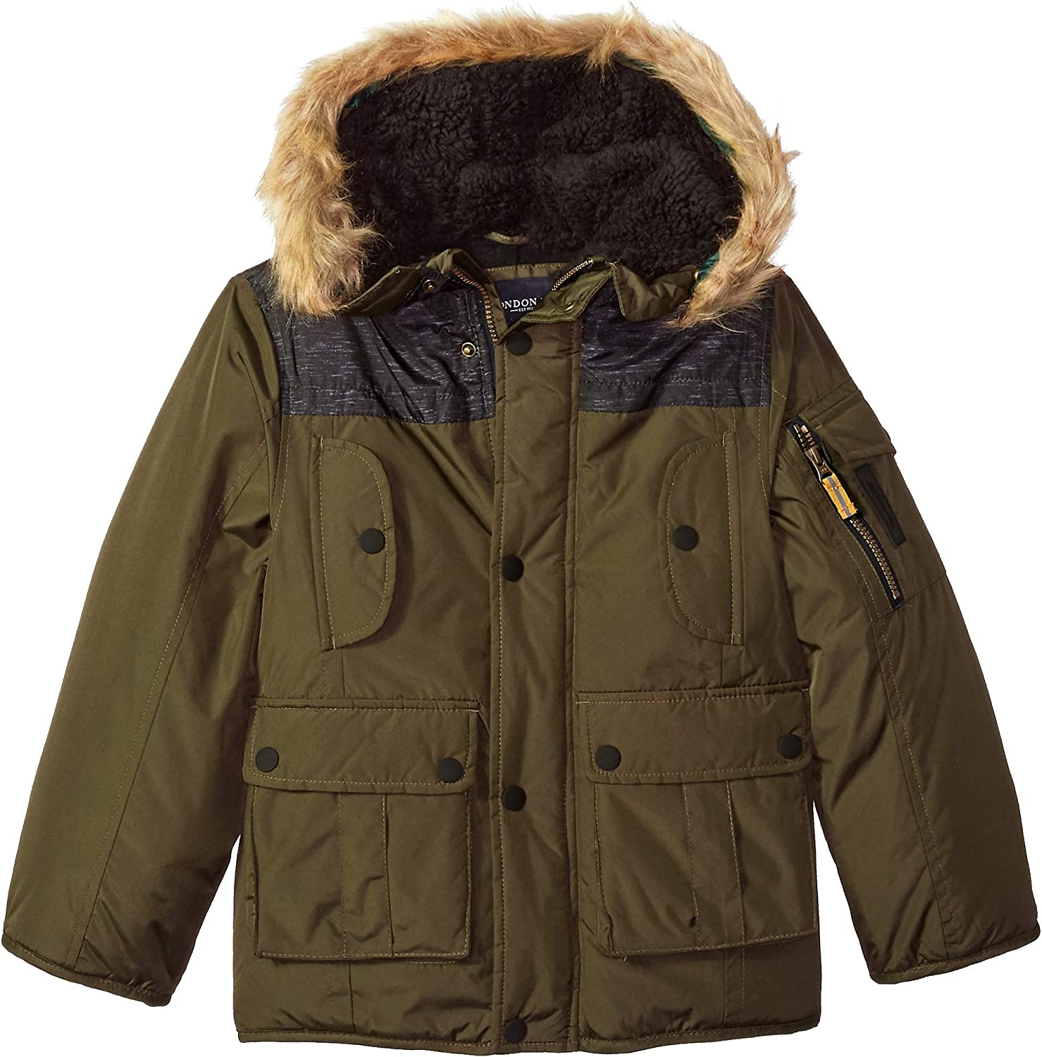 LONDON FOG Boys Warm Winter Coat Parka with Cozy Trimmed Hood