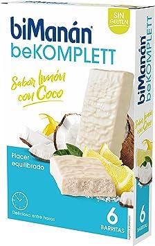 biManán beKOMPLETT Barritas sabor Limón con Coco. Fuente de proteínas y fibra, con 12 vitaminas y 3 minerales. Sin gluten - Caja de 6 unidades