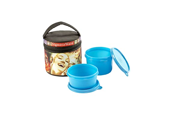Signoraware Jazz Executive GenX Lunch Box with Bag Set, 2 Pieces, Blue Lunch Boxes