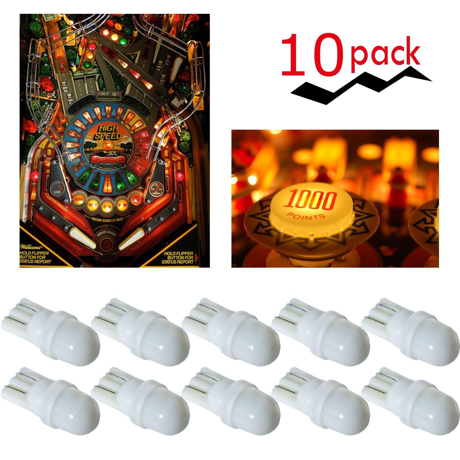 PA 10PCS #44 #47 #1893 #756 #1847 T10 w5w 2 SMD 2835 LED Wedge Pinball Machine Light Top View Bulb 6.3VDC (White) by PA