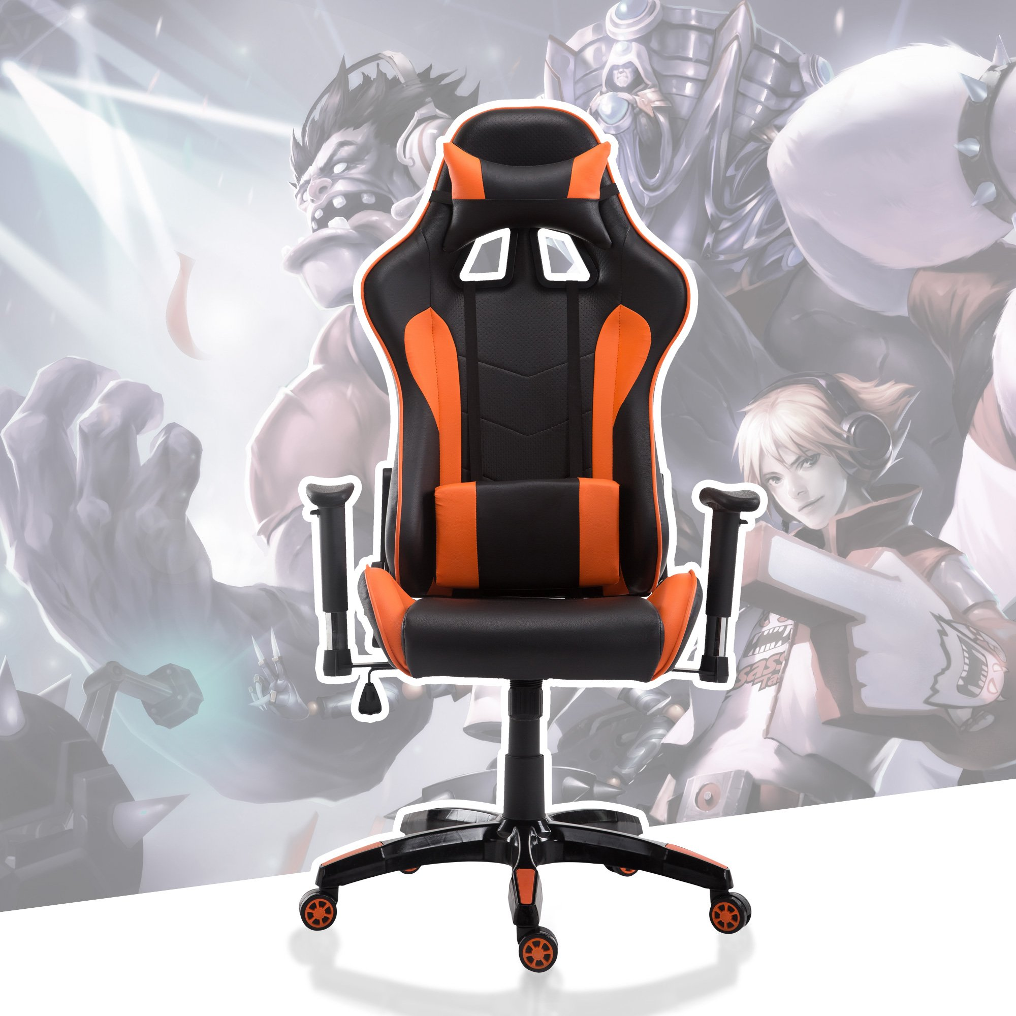 Cloud Mountain Gaming Chair Swivel Chair Racing Chair Ergonomic High Back Computer Desk Chair with Headrest and Lumbar Support Pillow, Black Orange