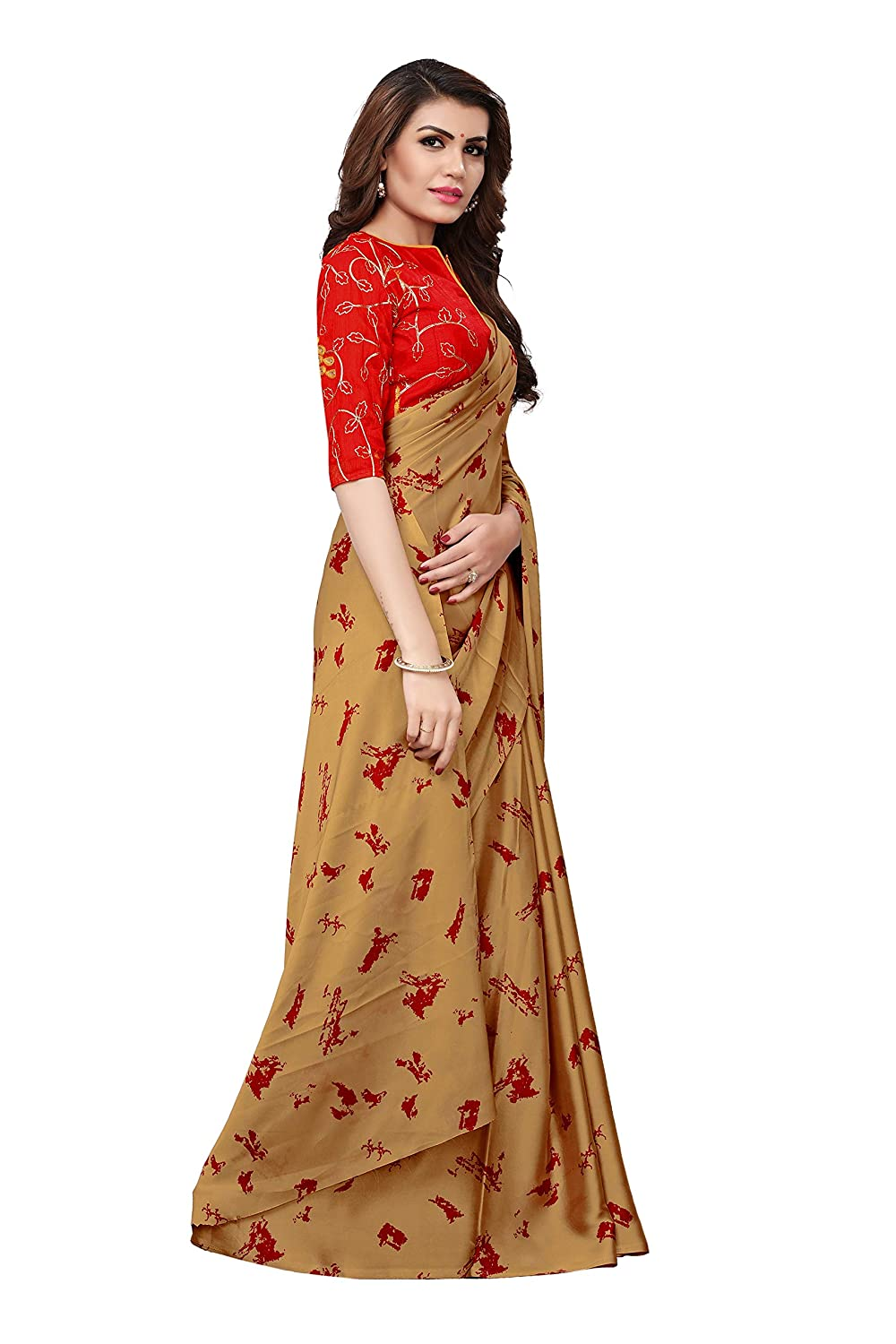 43f96e8d79 Model Madness Beige Georgette Satin Digital Printed Saree with Banglori  silk Embroidered Un-Stitched Blouse: Amazon.in: Clothing & Accessories