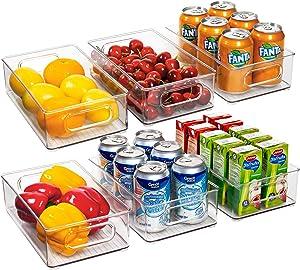 Ecowaare Plastic Storage Organizer Bins, 6 Pack Clear Stackable Food Storage Bins for Pantry,Refrigerator, Freezer,Cabinet,Kitchen Organization and Storage, BPA Free, 10x 6 x 3 inches
