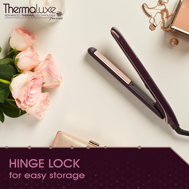 Remington Pro Series S9110S T|Studio Thermaluxe Slim Hair Straightener, with Tangle Free Fabric Cord & Bonus - Heat Protective Storage Pouch, Flat Iron, 1 Inch, Purple