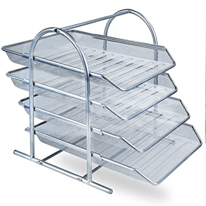 Zuvo - Organizador de escritorio de malla metálica con 4 niveles de bandejas para documentos,