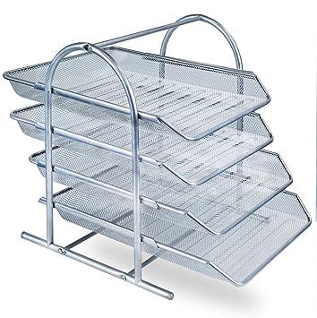 Zuvo - Organizador de escritorio de malla metálica con 4 niveles de bandejas para documentos, para casa o para la oficina, color plata: Amazon.es: Oficina y ...