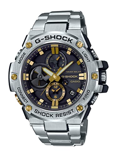 Casio Mens G-Steel by G-Shock Quartz Solar Bluetooth Connected Watch with Stainless-Steel Strap, Silver with Gold Accents, (Model: GST-B100D-1A9CR)