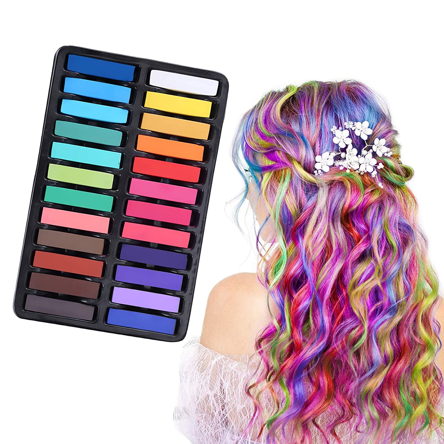 Hair Chalk, Temporary Hair Dye, Hair Chalk Dye,Hair Colorations, Pastel Chalk Kit, 24 Piece Temporary Hair Chalks Kit For Girls,Hair Chalk for Parties, Cosplay, Christmas, Birthday, Halloween