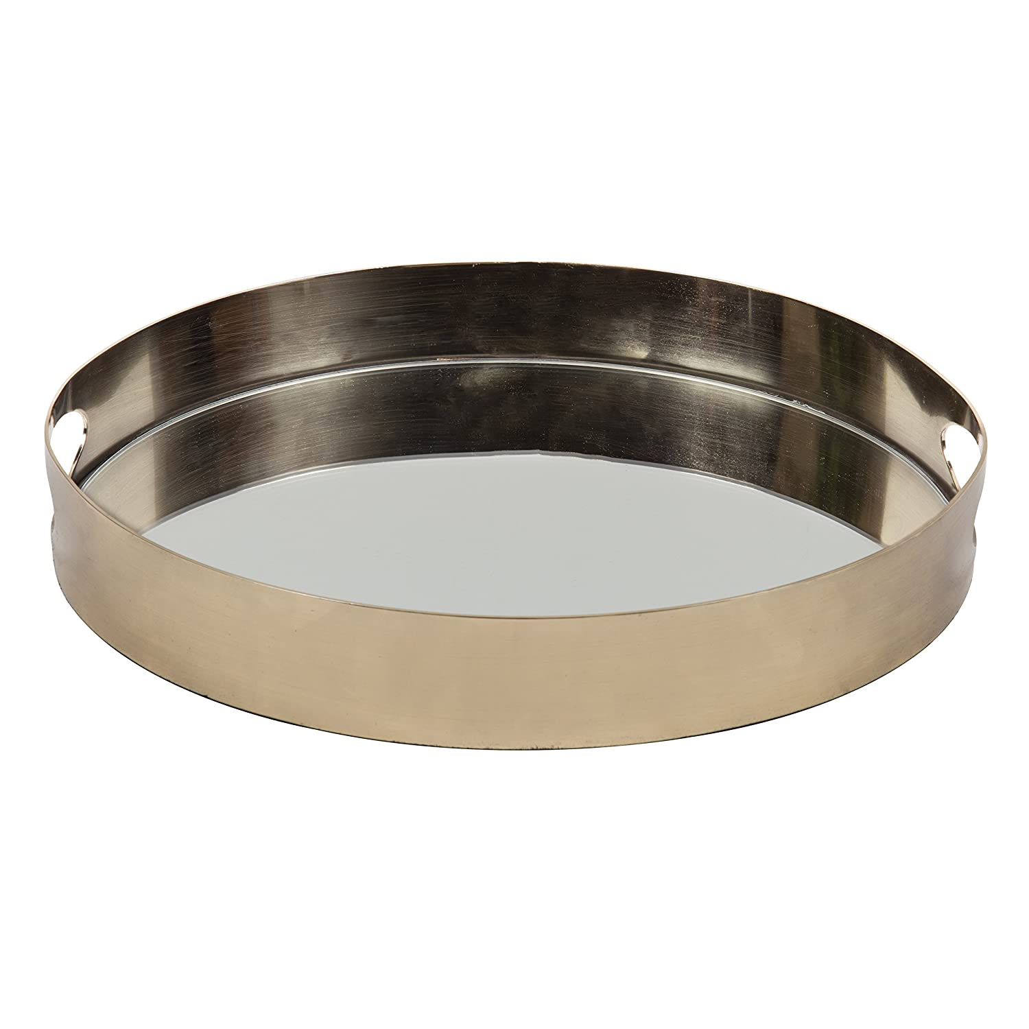 ab9e297882d Amazon.com  Kate and Laurel Angeline Modern Luxe Decorative Round Mirror  Tray in Polished Gold Metal
