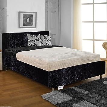 Hf4you Rose Crushed Velvet Bed Frame 3ft6 Large Single Black