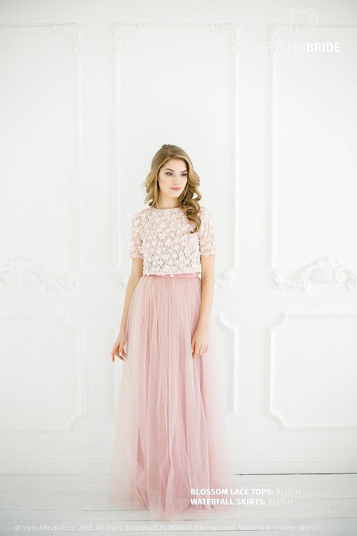c086546b74 Amazon.com: Blossom Blush Lace Dress, Blush Prom Dresses with ...
