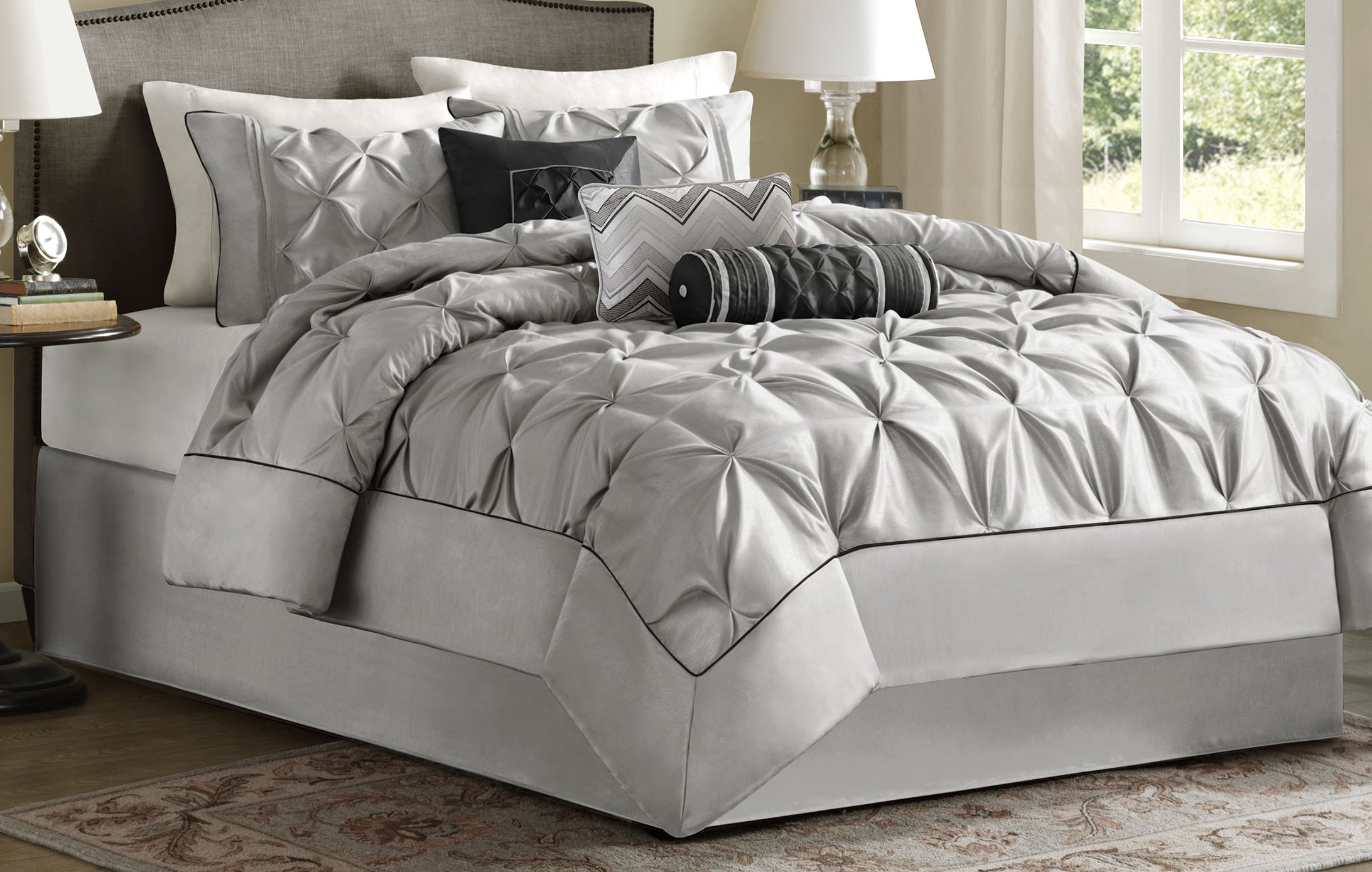 Madison Park Laurel Cal King Size Bed Comforter Set Bed in A Bag - Grey, Wrinkle Tufted Pleated – 7 Pieces Bedding Sets – Faux Silk Bedroom Comforters