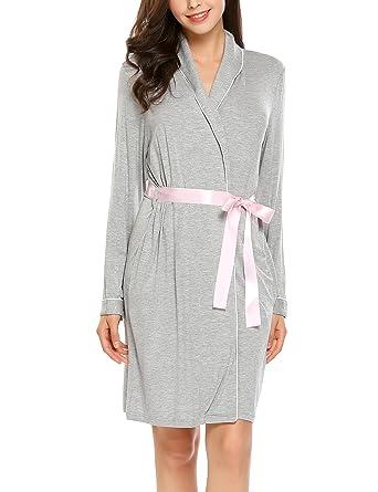 Goldenfox Womens Soft Bathrobes Long Sleeve Robe Warm Bridesmaid Robe ( Flower Grey eada6ff10