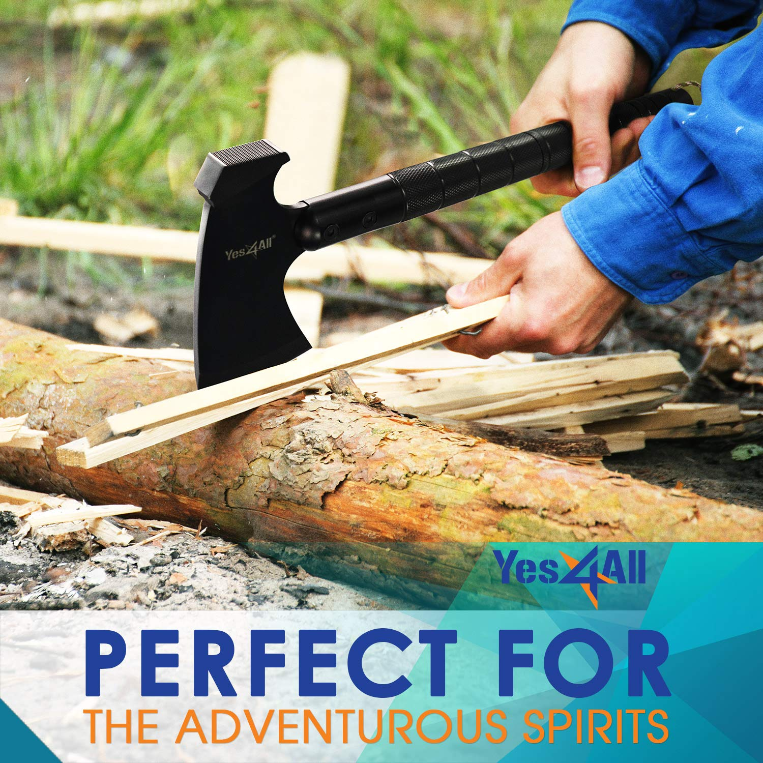 Yes4All Camping Axe Set Kit with Sheath – Survival Axe/Camping Hatchet and Knife Kit – Portable Folding Multi-Tool for Outdoor Adventure (Black) by Yes4All (Image #7)