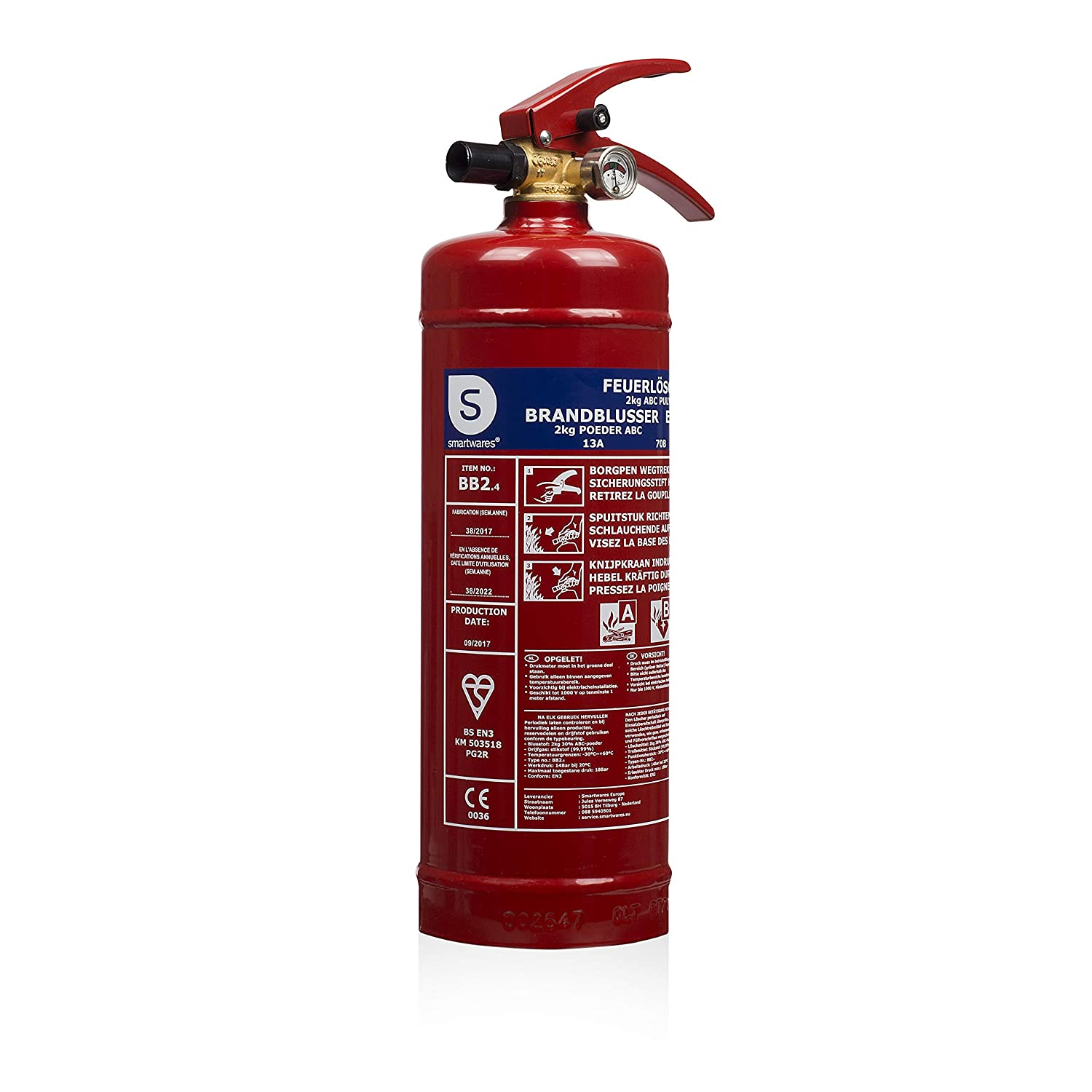 Smartwares 10.014.72 (BB6) Fire Extinguisher, Red, 6 kg
