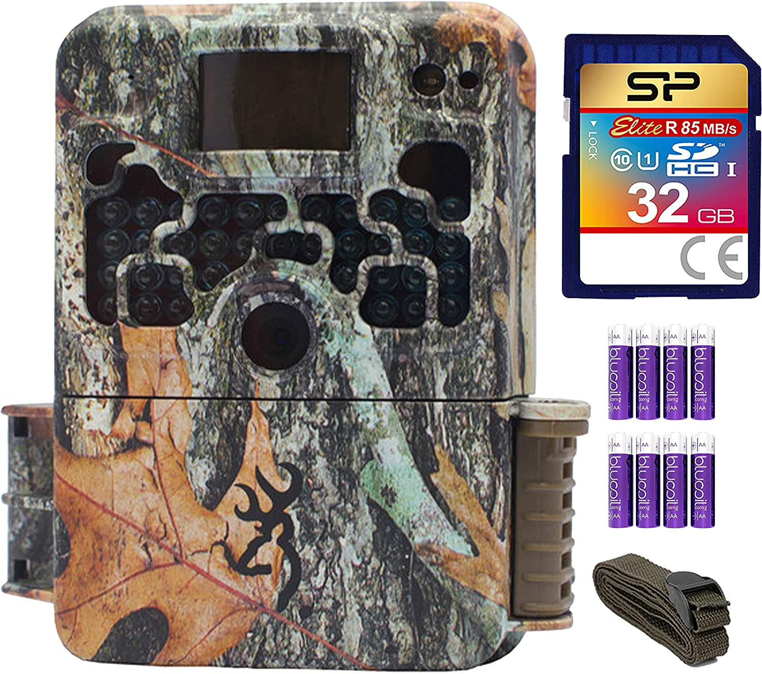 Blucoil Browning Trail Cameras 16MP Image Resolution HD Camera Bundle with 6-FT Tree Strap Mount, Silicon Power 32GB Class 10 SD Card, and 8 AA Batteries