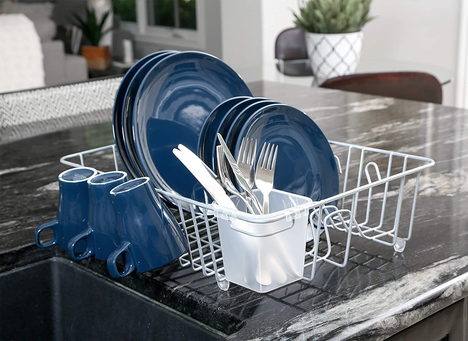 White 17.5 x 5.5 Inch Cups 8117118 Silverware Organization Smart Design Dish Drainer Rack w//Cutlery Cup /& Plate Dividers Steel Wire Frame Large for Dishes Kitchen White