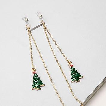 CHENFUI - Cadena de Gafas con Colgante de árbol de Navidad, Gafas de Lectura, cordón de Metal, Color Dorado: Amazon.es: Jardín