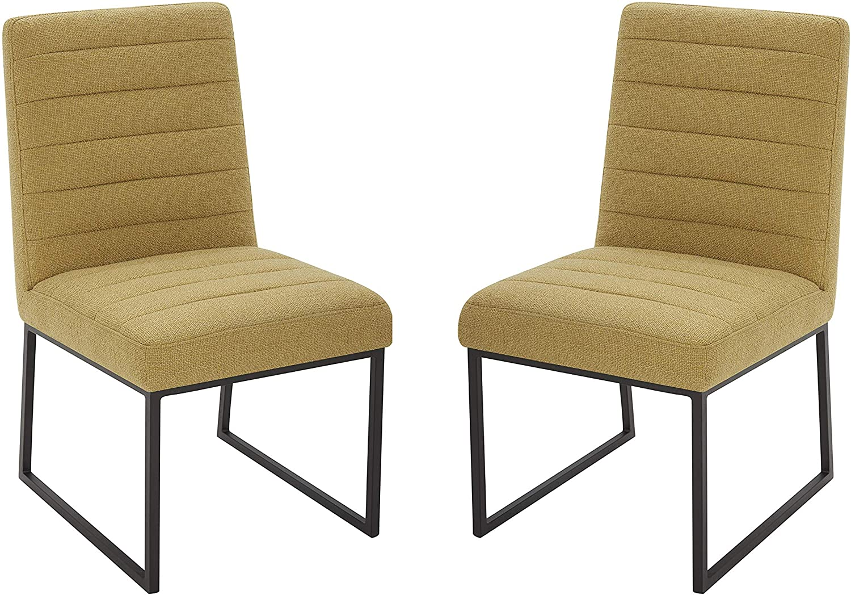 "Amazon Brand – Rivet Decatur Modern Upholstered Dining Chair, 21""W, Set of 2, Lemongrass"