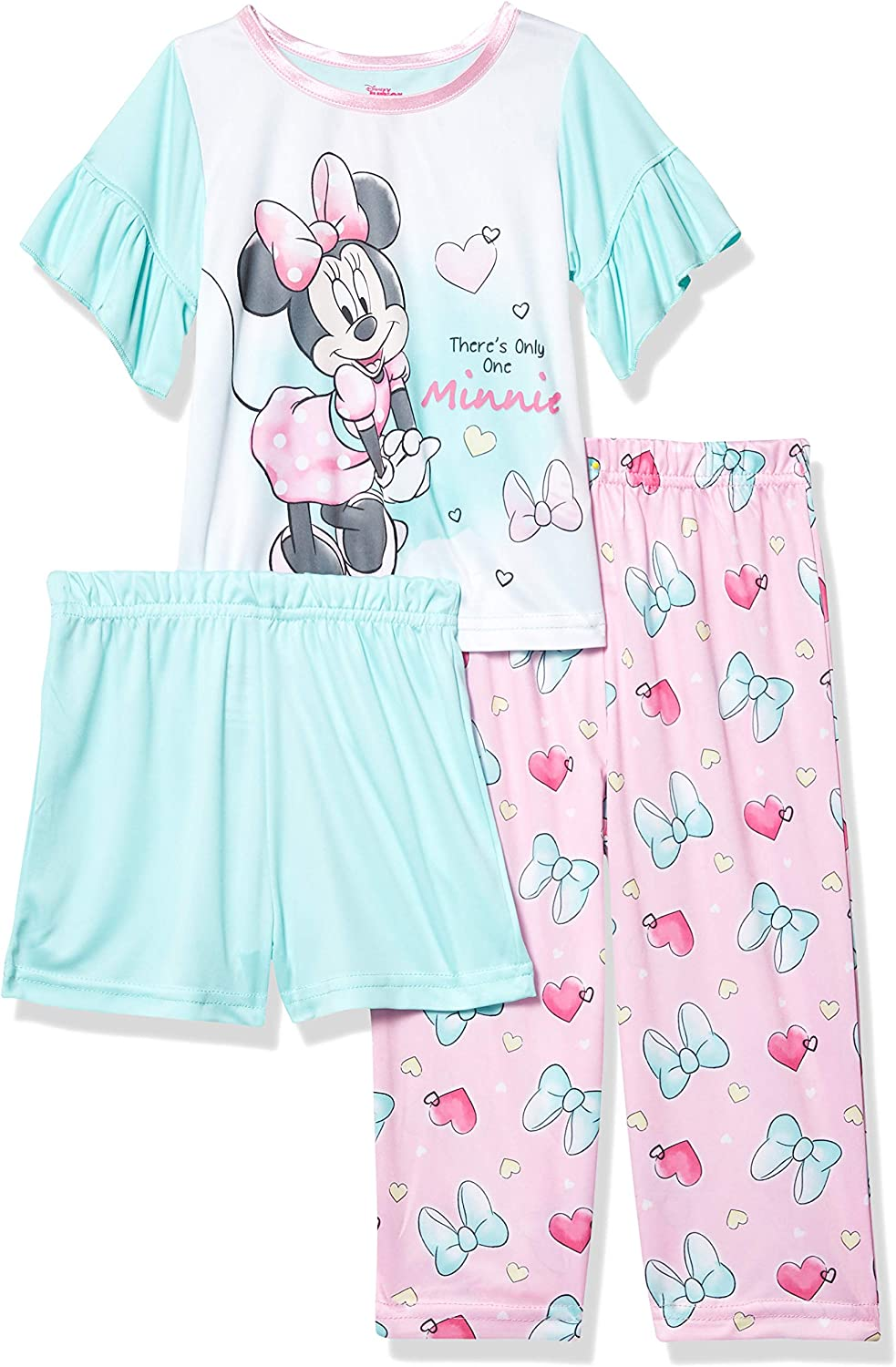 Pink 3T Disneys Minnie Mouse Toddler Girl 3 Piece Pajama Set