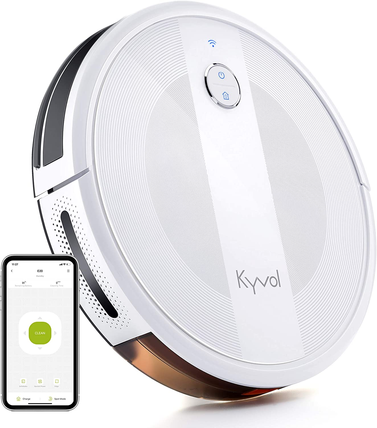 Kyvol Cybovac E20 Robot Vacuum Cleaner, 2000Pa Suction, 150 min Runtime, Boundary Strips Included, Quiet, Slim, Self-Charging, Works with Alexa, Ideal for Pet Hair, Carpets, Hard Floors