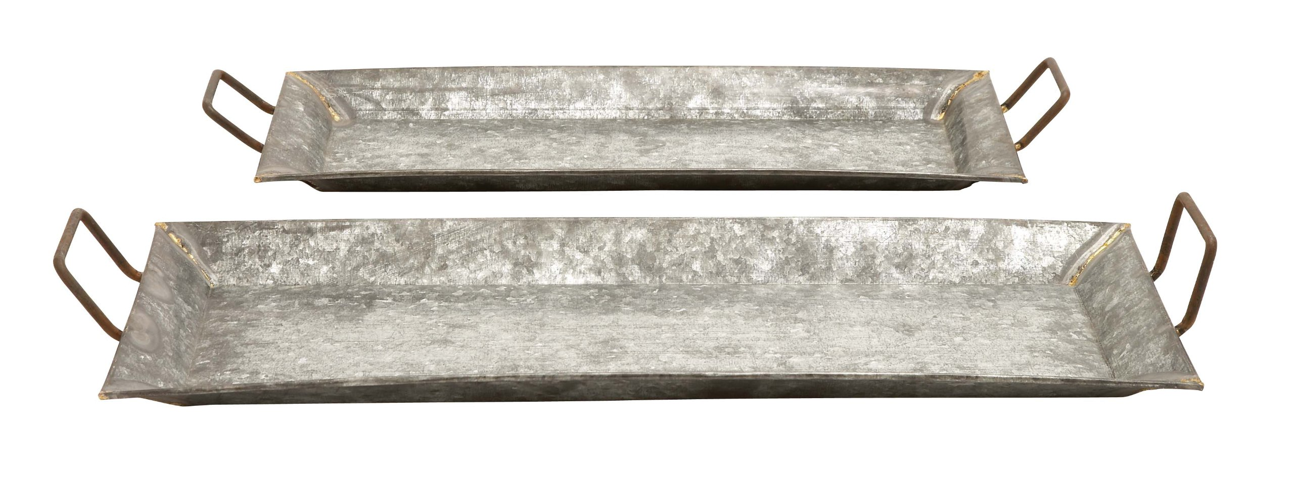 Deco 79 Farmhouse Rectangular Serving Trays with Handles, 29'' and 25''L, Galvanized Gray Finish, Set of 2