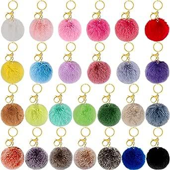 BQTQ 26 Pieces Pom Pom Keychains Rabbit Faux Fur Pom Pom Balls Fluffy Pom Poms with Keychain Hooks for Women Girls Bag Accessories (26 Bright Colors)