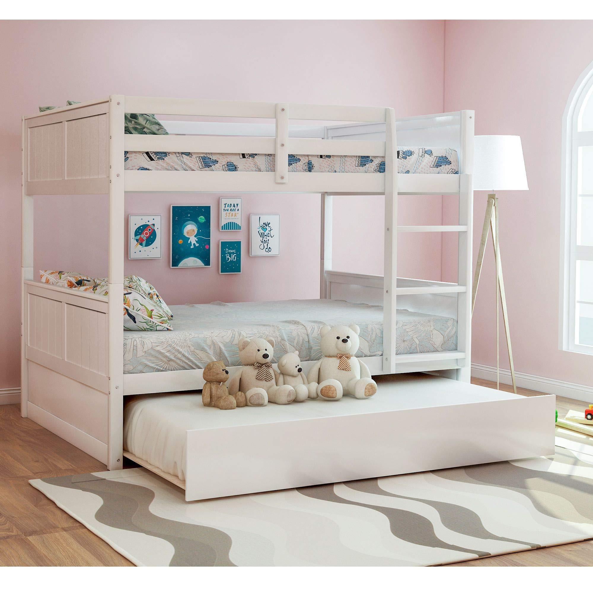 Full Over Full Bunk Bed For Kids Trundle Bed Loft System With Steps Crisp White Buy Online In Botswana At Botswana Desertcart Com Productid 169517467