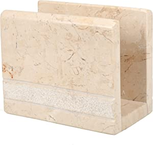 Creative Home Natural Champagne Marble Stone Napkin Holder, Stand, Dispenser, Hand Carved Style