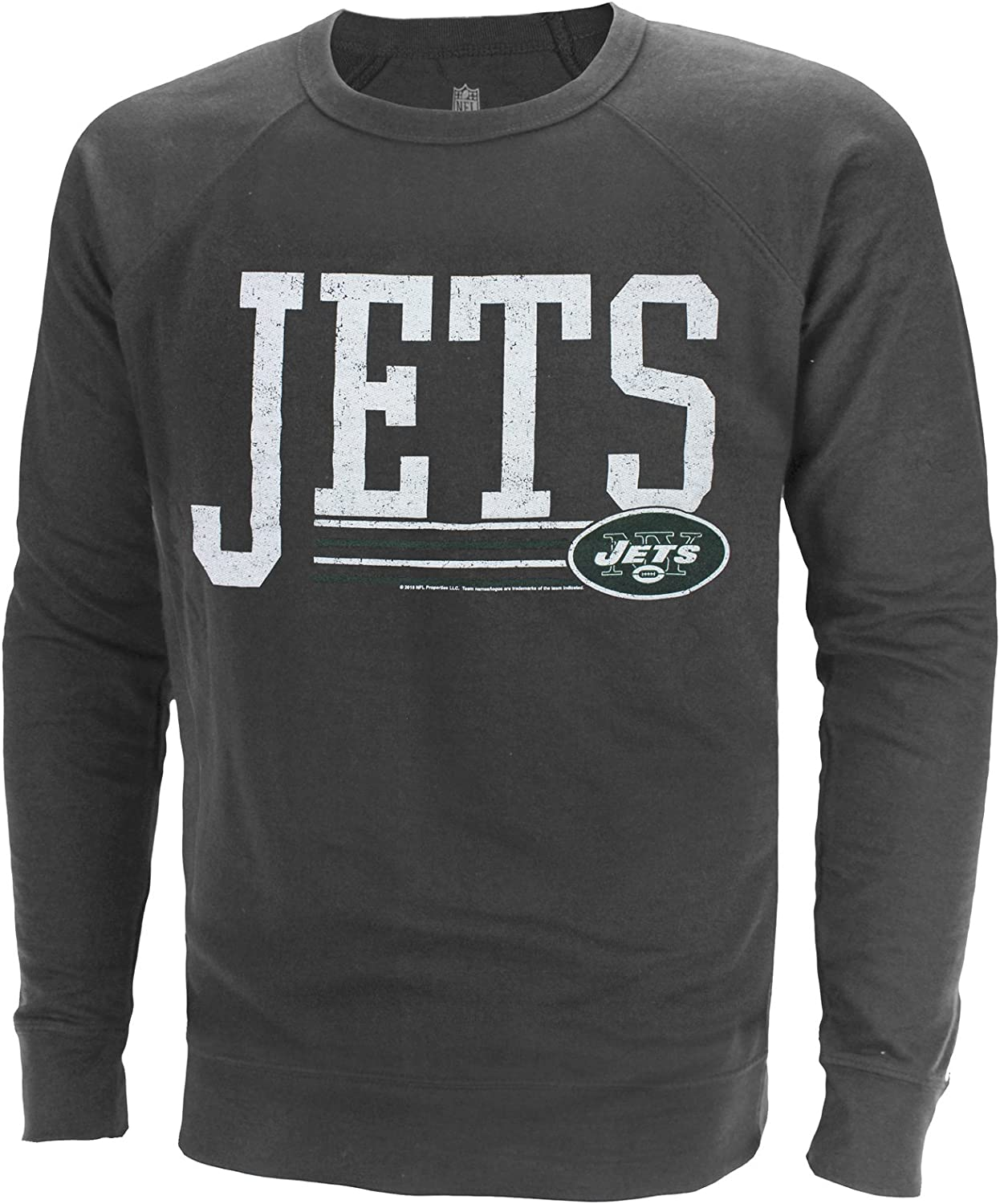 Junk Food NFL Men's Fundamentals French Terry Crew Sweater, Charcoal Heather, Team Choice