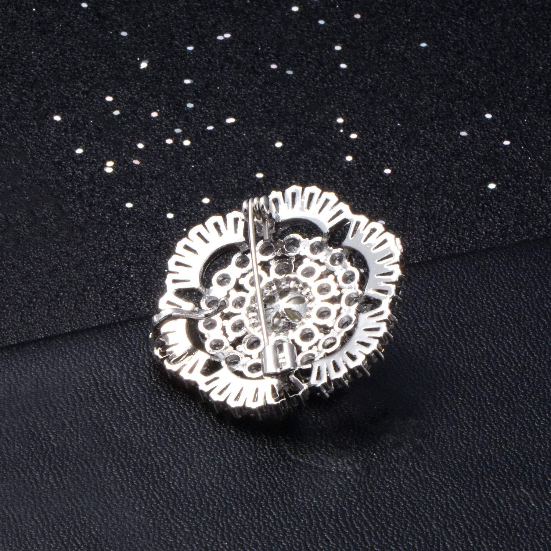 Broche Broches Soleil-Fleur Plaqu/é en Or 18K avec Cadeau de Perle Zircon 5A pour Femmes
