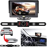 Backup Camera and Monitor Kit for Car, RAAYOO Universal Wired 7 Infrared LED Lights Night Vision Car Parking Assistance License Plate Rear View Backup Camera and 4.3 inch Color TFT LCD Monitor