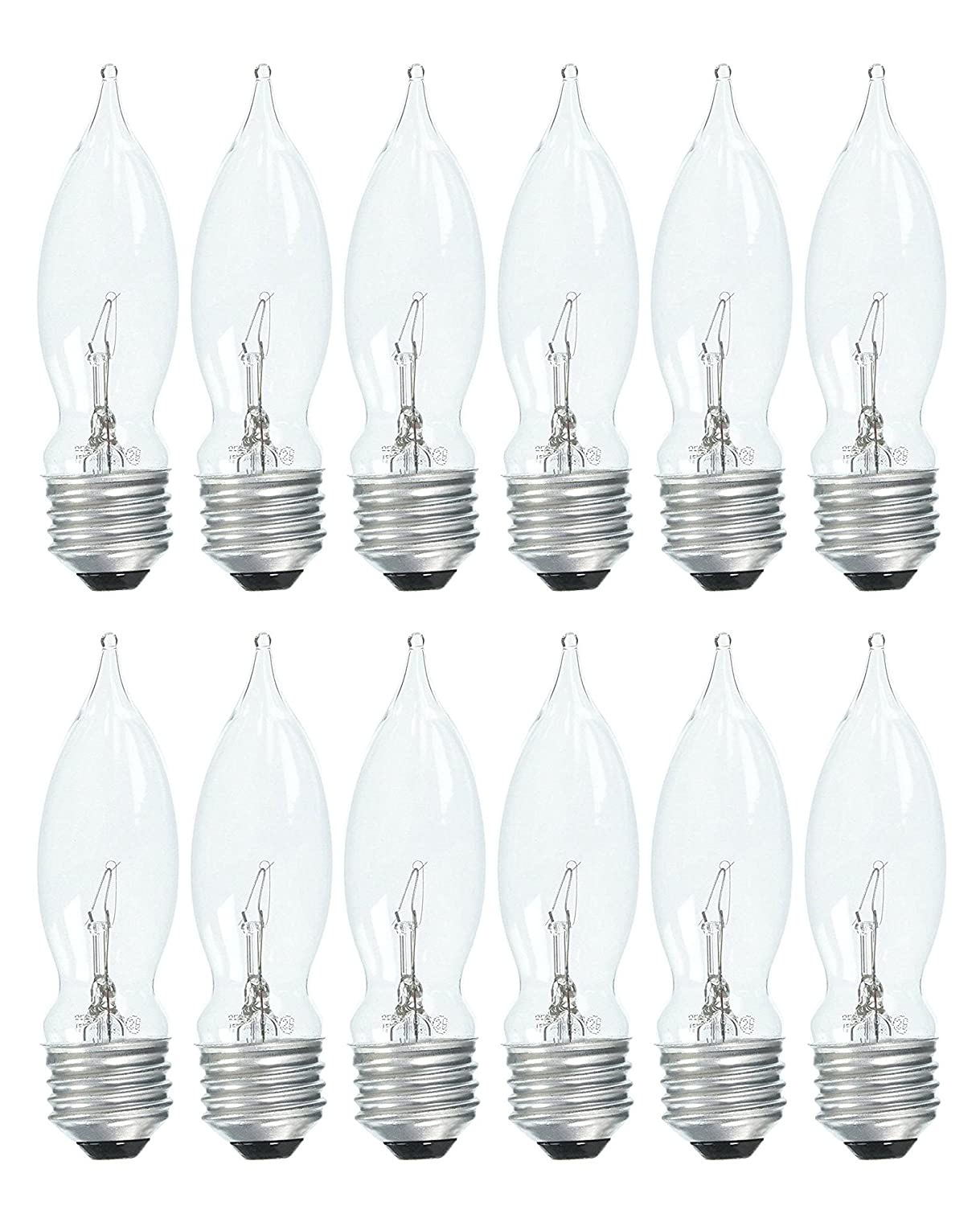 Set of 12 GE 75333 Crystal Clear 40 Watt Bent Tip Standard Base Light Bulbs!